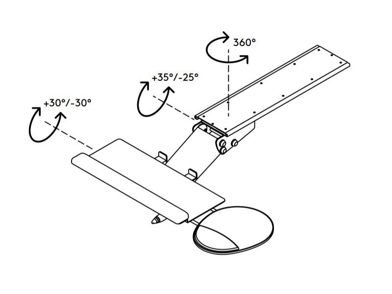 EOL Dataflex Addit verstellbare Tastaturhalterung mit Mausablage (97.513)